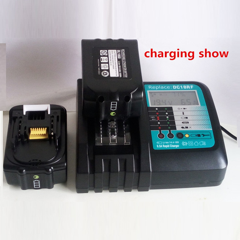 Fast Lithium Battery Charger 6 5A LCD for Makita 14 4V 18V battery fit 100-240V voltage and fan cooling   high quality
