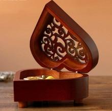 Retro Heart-shaped Clockwork Music Box Wooden Music Box Sky City Canon Creative Gift
