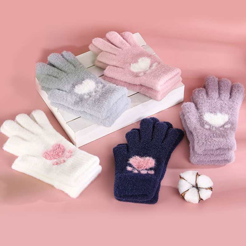 Outdoor Cycling Driving Gloves For Women Girls Simple All-match Small Fresh Touchscreen Cat Paw Pattern Warm Split Finger Glove