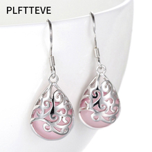 Pink Opal Water Drop Long Earrings For Women Silver Color Female Dangle Hanging Earring Fashion Wedding Ear Jewelry Brincos moonrocy drop shipping silver color waterdrop fashion crystal necklace and earrings pink opal jewelry set for women girl