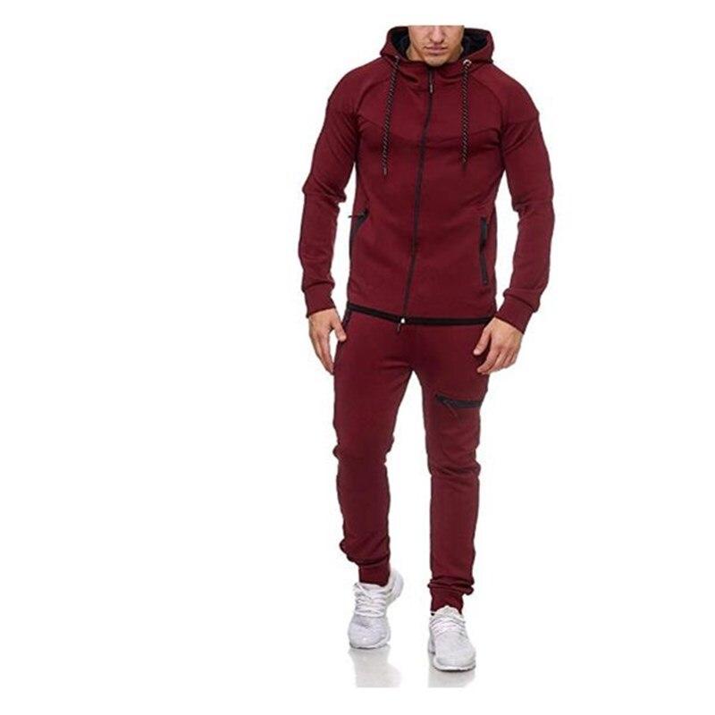 Men/'s Hoodies Sweatshirt Pants Tracksuit Set 2Packs Bottoms Sport Jogging Suit