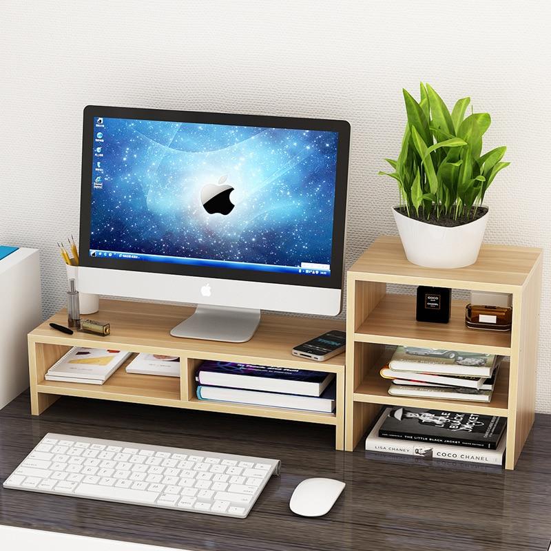 Creative Computer Display Base Heightening Bracket Office Desktop Keyboard Shelf Wooden Shelf Office Supplies Organizer