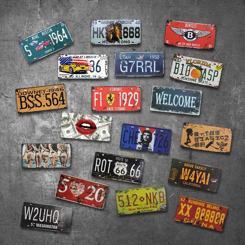 Auto Plaat Usa Vintage Metalen Tin Tekenen Auto Nummer Nummerplaat Plaque Poster Bar Club Garage Thuis Decoratio Plaat auto