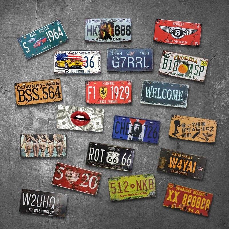 자동차 플레이트 미국 빈티지 금속 주석 표지 자동차 번호 번호판 플라크 포스터 바 클럽 벽 차고 홈 Decoratio 플레이트 자동차