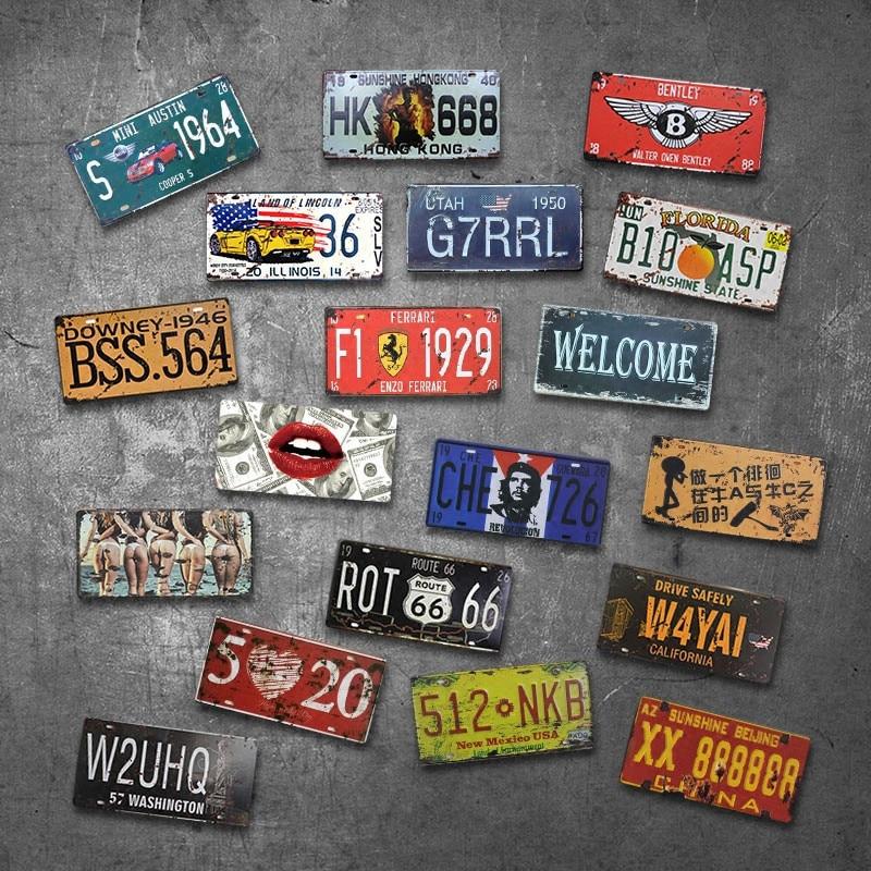 Plat Mobil Amerika Serikat Timah Logam Antik Tanda Mobil Nomor Plat Plakat Poster Bar Club Dinding Garasi Home Decoratio Plate mobil