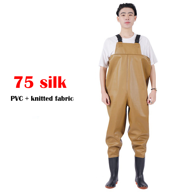 Winter fishing waders boots Outdoor fishing suit 75 silk Thick material Waterproof fishing pants Wading rubber boots for men