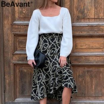 BeAvant Summer Midi Skirts Black Women 2020 Print Lace Up High Fashion Wrap Sexy Skirt Female Spring A Line Skirts Holiday Lady 5