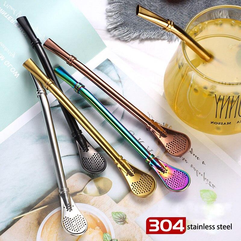 NANLINGWUREN edelstahl filter stroh löffel geschirr milch rühren löffel gold-überzogene kaffee löffel getränke stroh tee löffel