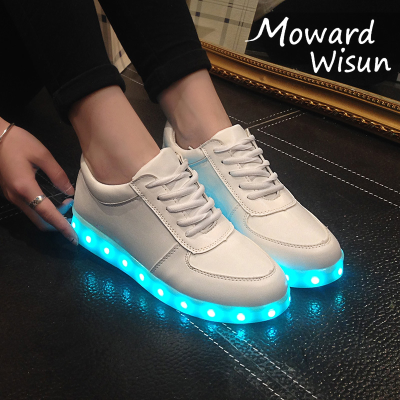 Size 27-42 Children LED Shoes For Boys USB Charger Glowing Kids Girls Sneakers Luminous Casual Light Shoes With LED Sole Women
