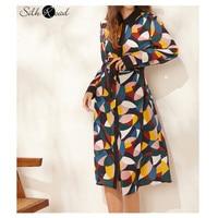 Silviye Authentic floral silk dress for women in 2020 new spring geometric pattern long sleeve mulberry silk waist length dress