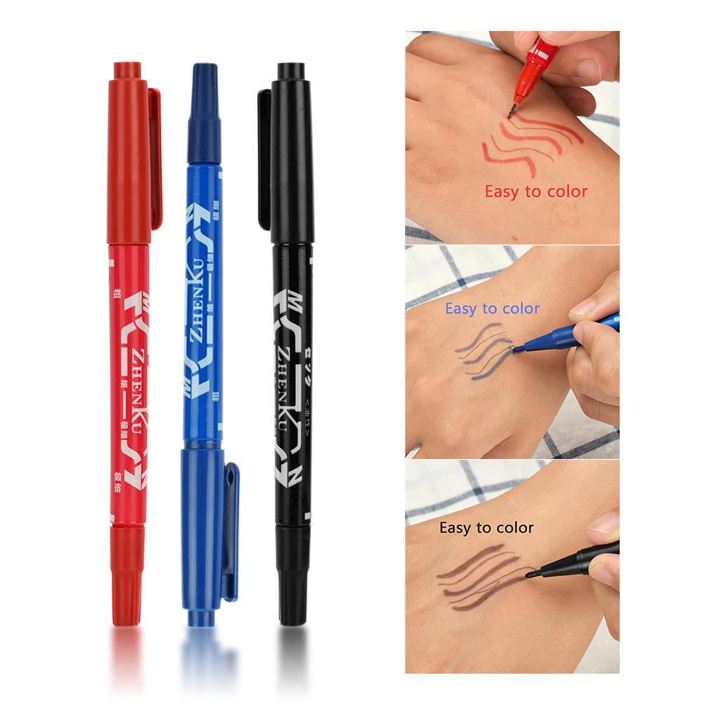 3Pcs Double Ends Temporary Ink Skin Marker Pen Fine Point Large Capacity Tattoo Supplies Body Art Tools Office School Supplies