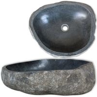 Oval shaped wash basin Basin River Stone Oval 11.8 20.5 smoothly polished for bathroom vanity set washroom natural river stone