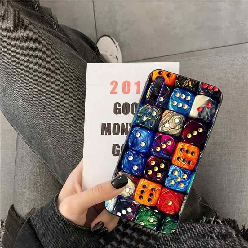ลูกเต๋าของเล่น Art สมาร์ทสีดำโทรศัพท์กรณีเปลือกนุ่มสำหรับ Huawei Y7pro Y9 2018 Y6 Y7 PRIME Y6pro 7A กรณี