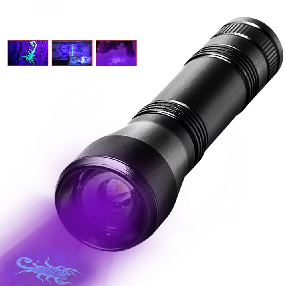 UV Flashlight LED 395nm torch Lamp Purple Violet Ultraviolet ray 5Mode Zoom Light for Detect cash,Prayer Beads by 18650 Battery image