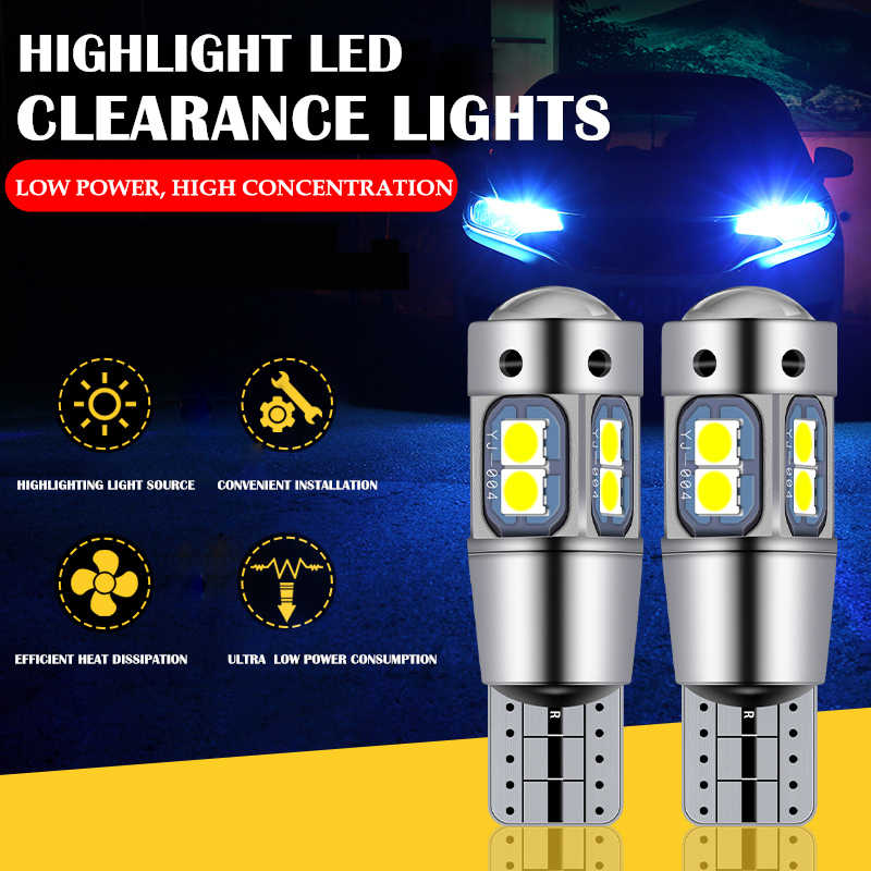 2pcs Car Led Bulb T10 Led Canbus W5W 168 194 Auto Interior Light Map Dome Door Reading Wedge Parking Bulbs Clearance Lights