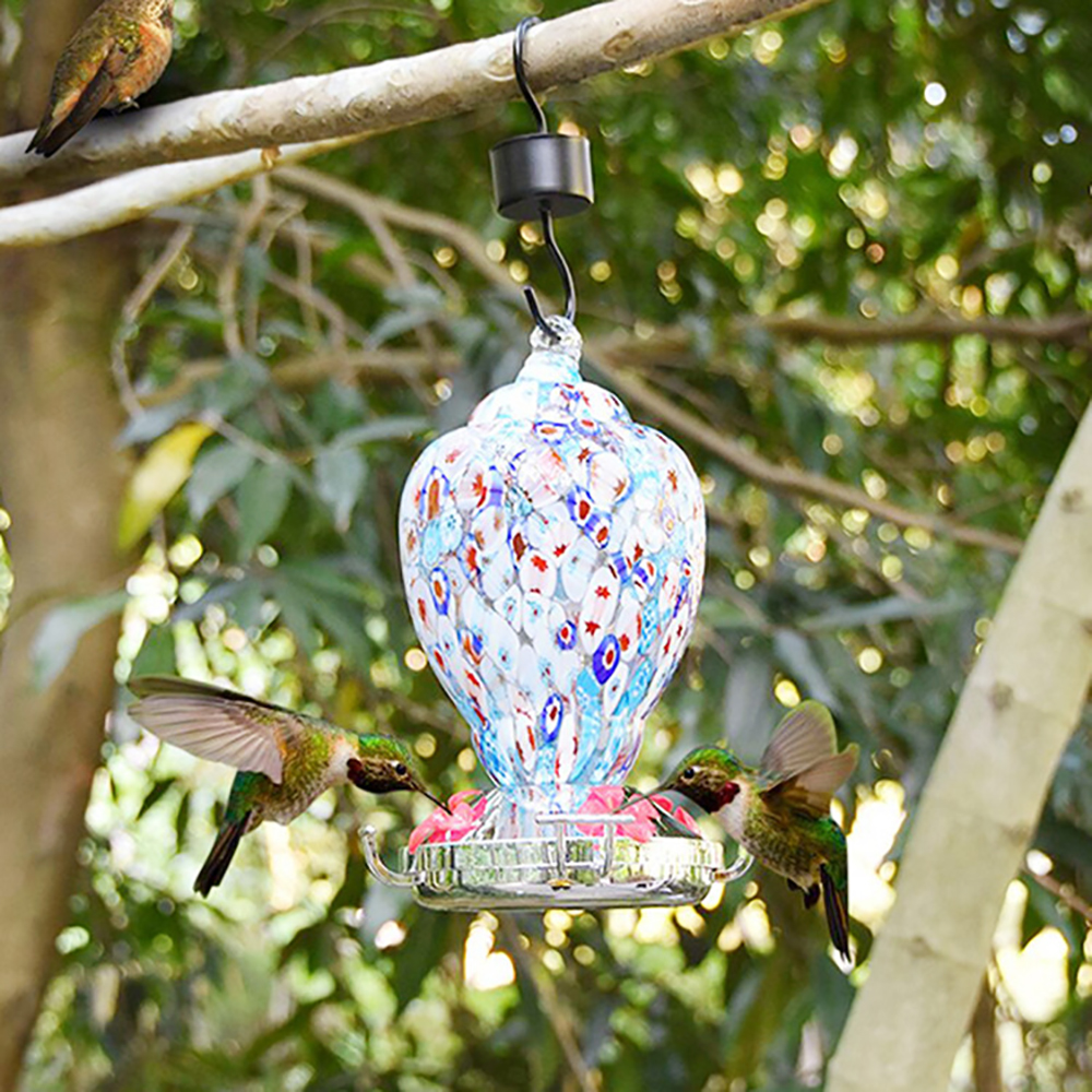 Hummingbird Feeder Hooks Nectar Feeder with Brush Ant Moat Insect Guards Trap