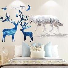 [shijuehezi] волк Животные наклейки на стену diy синий олень