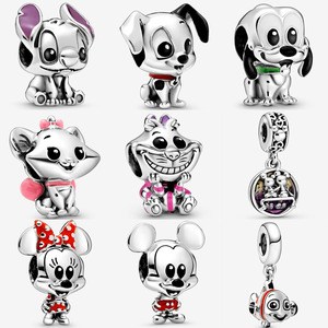 New 925 Sterling Silver Lilo Stitch Pluto Charm Fit pandora bracelet 101 Dalmatians Patch Finding Nemo Dangle Charm DIY jewelry(China)