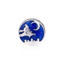 Alfombra Mágica Ride cuentas Vintage para plata 925, pulseras de dijes, esmalte azul, noche maravilla, Luna, abalorios para hacer joyas