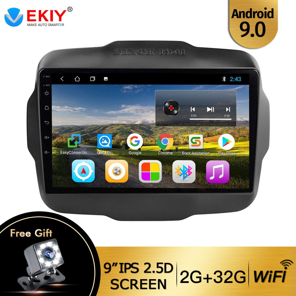 "EKIY 9"" IPS 2.5D Android 9.0 Car Radio For JEEP Renegade Radio 2016-2017 Multimedia GPS Radio Stereo Gps Navigation DVD Player"