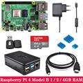 Оригинальный Raspberry Pi 4  1 ГБ  2 ГБ  4 Гб ОЗУ  Wi-Fi  Bluetooth  с ABS чехол  адаптер питания  sd-карта для Raspberry Pi 4 Model B 4B