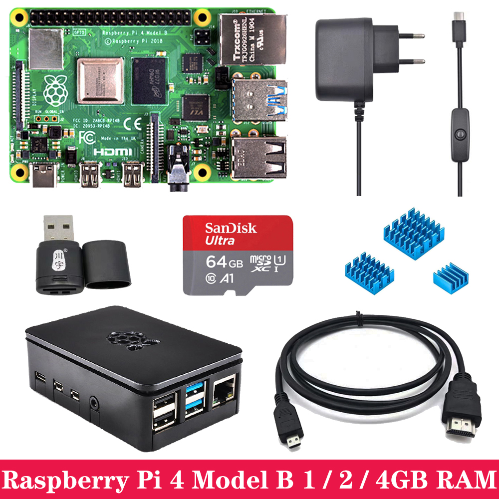 Original Raspberry Pi 4 1GB 2GB 4GB RAM WiFi Bluetooth With ABS Case Power Supply Adapter SD Card For Raspberry Pi 4 Model B 4B