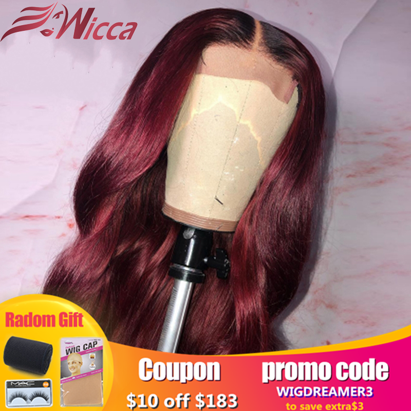 Wicca 1b/99j Ombre Wig 13X6 Lace Front Human Hair Wigs Pre Plucked  Lace Front Wigs For Women Remy Hair