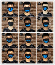 1PCS Luminous Mouth Mask Dust - Three Layers Black Anime Cotton Ayo and Teo for Kids Man Woman
