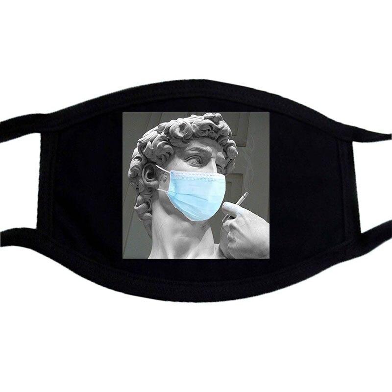 David Michelangelo SOS Funny Cartoon Face Mask Black Cotton Winter Warm Masks Unisex Washable Dustproof Mouth Muffle Mask