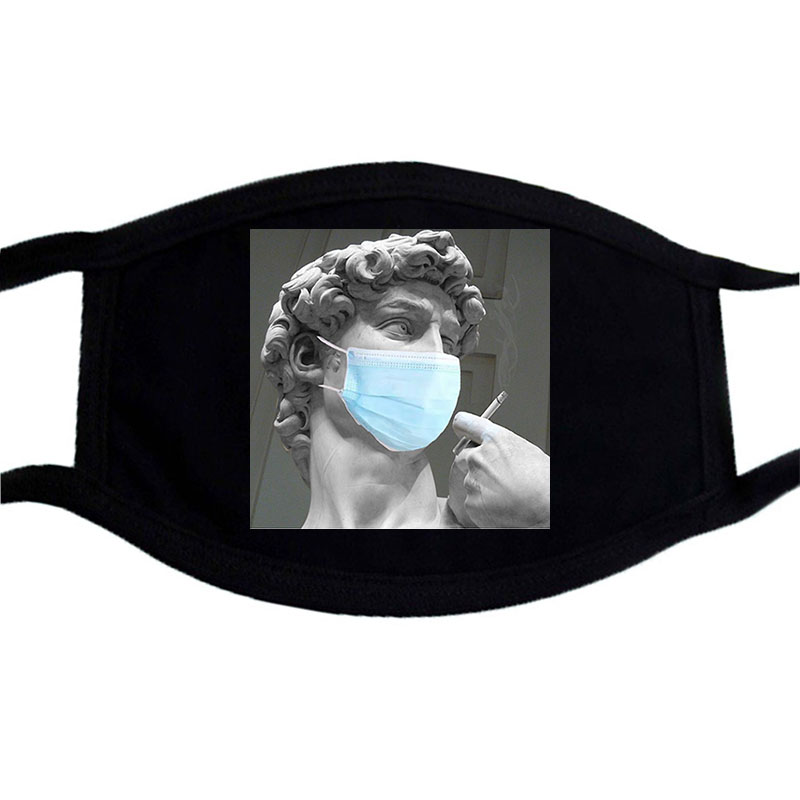 David Michelangelo SOS Funny Cartoon Face Mask Black  Winter Warm Masks Unisex Washable Dustproof Mouth Muffle Mask