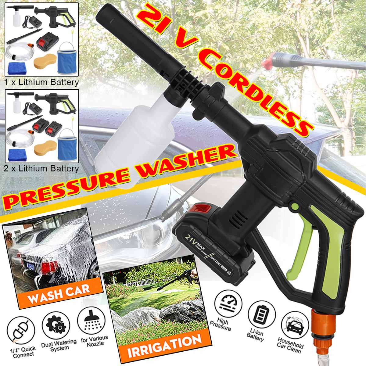 21V Portable Cordless Car Washer Machine High Pressure Cleaner Electric Water Gun Auto Garden Home Cleaning Tools With Battery