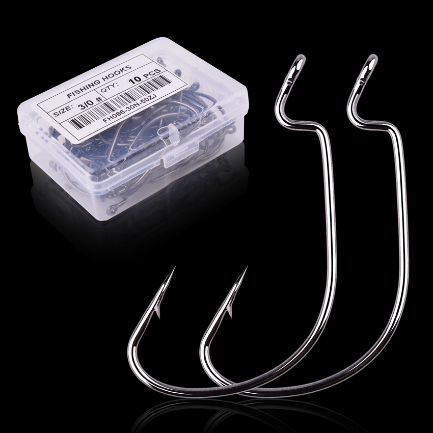 10pc/ Box Fishing Hook Set Carbon Steel Wide Crank Offset Fishhook For Soft Worm Lure Barbed Hook Carp Fishing Tackle Accessorie