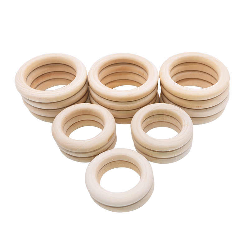 50 pcs wooden rings unfinished round wood circle ring 30mm