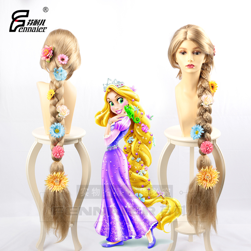 Halloween Women Princess Tangled Rapunzel Cosplay Wig Blonde Braid Hair Role Play Long Golden Braided Hair With Flowers