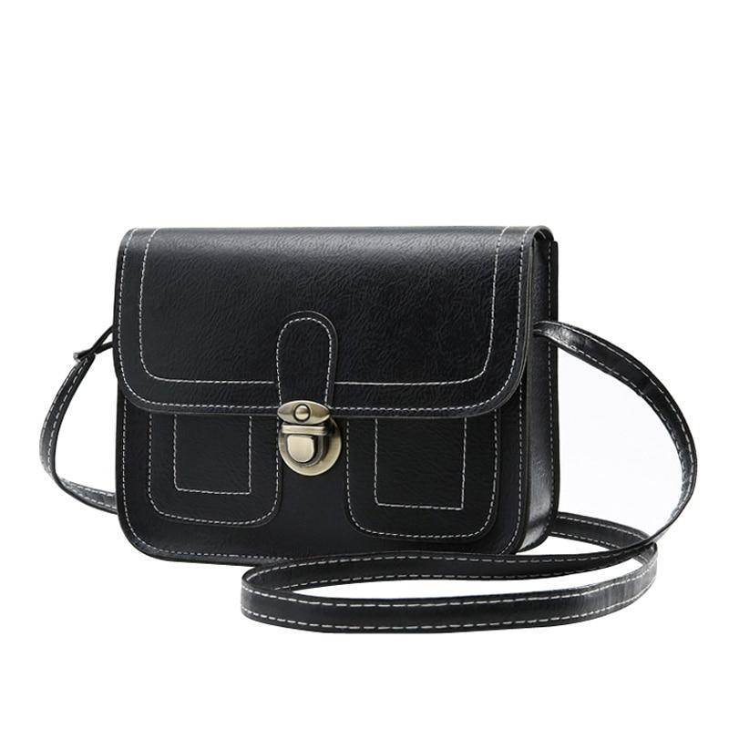 Retro Women Bag Solid Color Imitation Leather Women Shoulder Bag Croosbody Bag Casual Handbag Small Square Package
