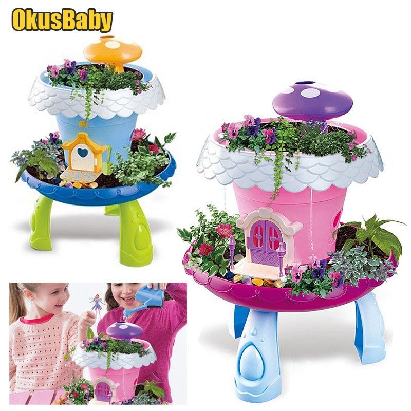 DIY Assembled Garden Lights Toy Children Flower Cottage House Kids Educational Real Plants Decoration Toys Pot culture Gilr Toy