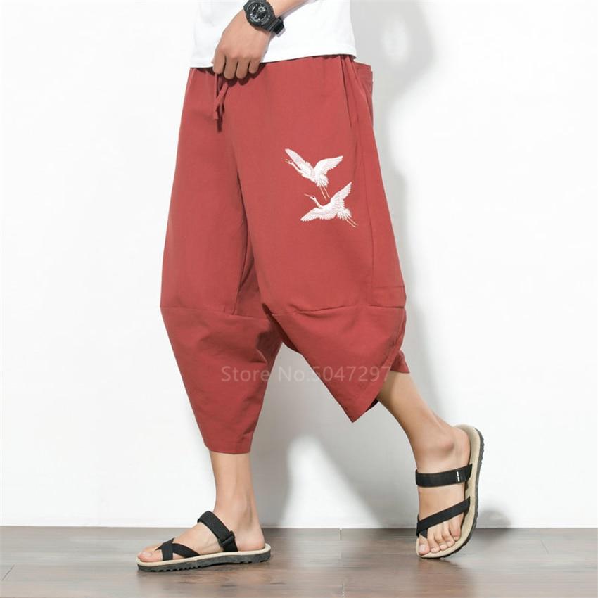 Harem Pants Japanese Style Plus Size Wide Leg Trousers Men Samurai Costume Crane Embroidery Vintage Pants Haori Harajuku Asian
