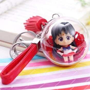 1 Uds precioso Anime Sailor Moon bola de cristal figura llaveros niñas acrílico llaveros colgantes niños figuras de acción de juguete regalos