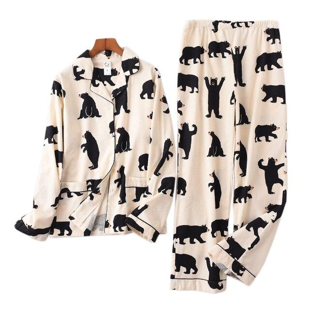 Bonito urso branco 100% algodão escovado conjuntos de pijama feminino outono casual moda sleepwear feminino pijamas sexy mujer