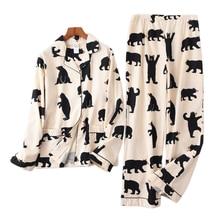 Màu Trắng Dễ Thương Gấu 100% Brushed Cotton Nữ Pyjama Bộ Thu Đông Thời Trang Đồ Ngủ Nữ Homewear Gợi Cảm Pijamas Mujer