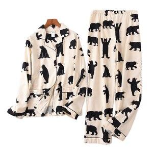 Image 1 - Śliczny biały niedźwiedź 100% szczotkowanej bawełny kobiety zestawy piżam jesień dorywczo mody bielizna nocna kobiety homewear sexy pijamas mujer