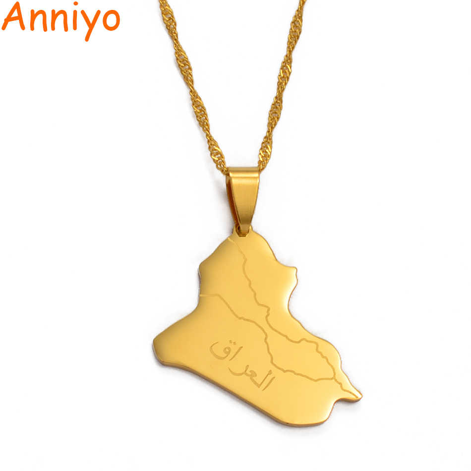 Anniyo Republic Of Iraq Map Pendant Necklace Gold Color Jewelry Map Of Iraq Necklaces #007921