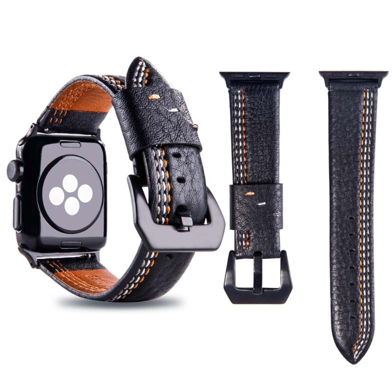 Suitable For APPLE Watch 42 Size Three Generations Second Generation Universal Three Lines Pattern PU Leather Watch Strap