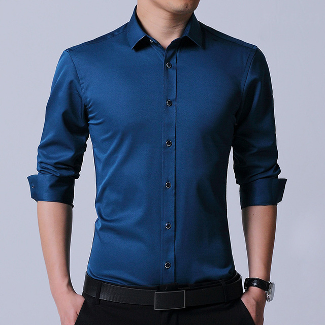 New Stretch solid plain long sleeve men's slim fit  business casual shirts non-iron easy care no shrink without chest pocket