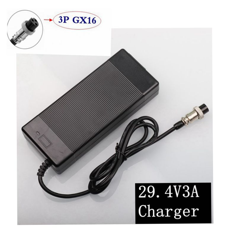 29.4V 3A Fast Lithium Battery Charger For 24V Lithium Battery Pack Charger Interface 3P-GX16 AC100-240 Bike Free Shipping