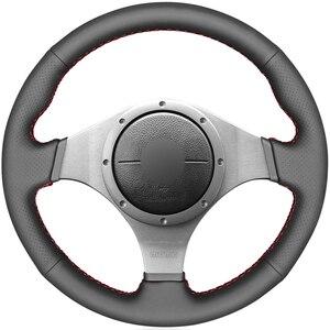 Capa de volante do carro de couro do falso do plutônio preto para mitsubishi lancer evolution 8 viii 2003-2005 lancer evolution 9 ix 2005-2007