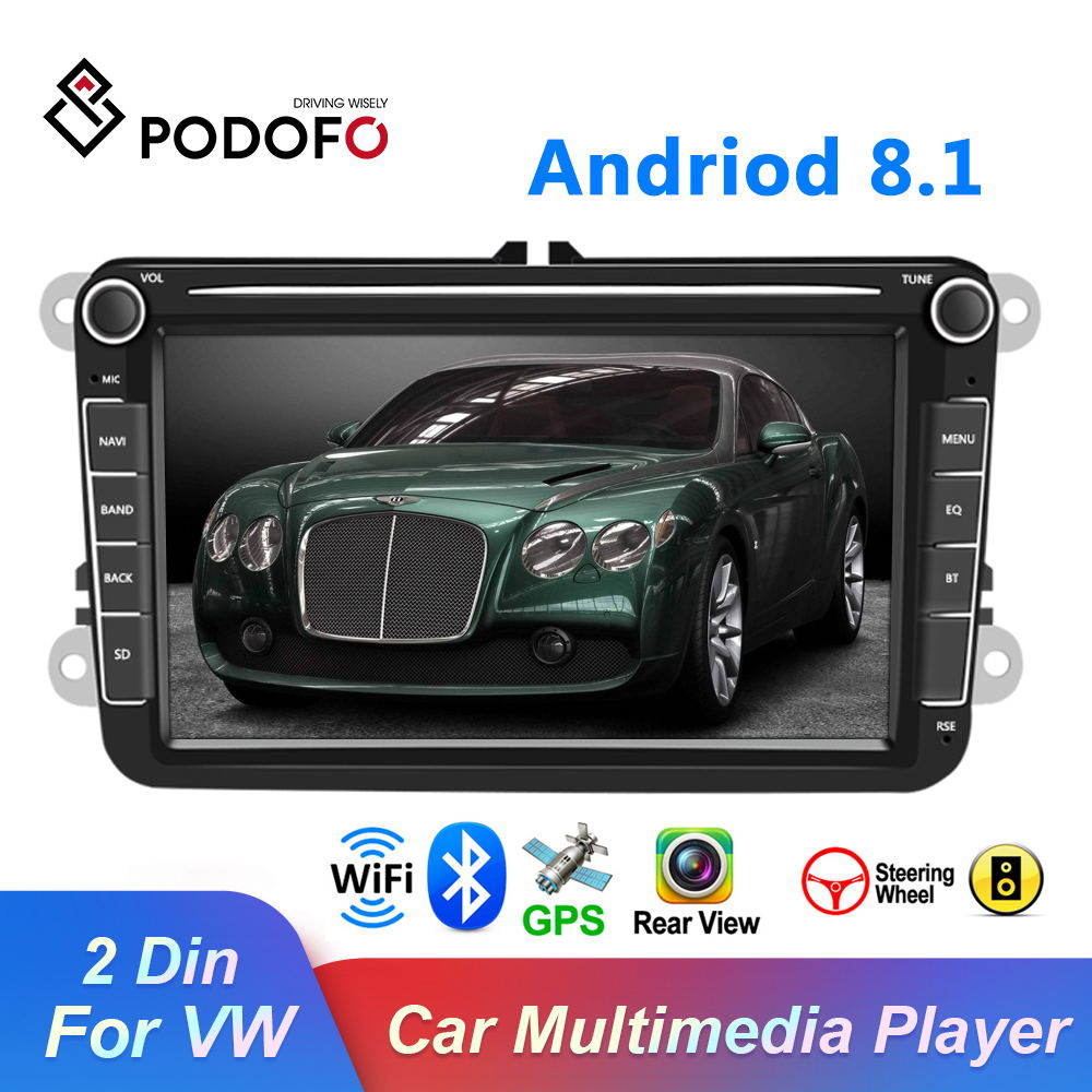 Podofo 8''Android 8.1 2Din Car Multimedia Video Player GPS WIFI Car Auto Radio Stereo Audio For Seat/Skoda/Passat/Golf/Polo|Car Multimedia Player| - AliExpress