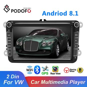 Podofo 8''Android 8.1 2Din Car Multimedia Video Player GPS WIFI Car Auto Radio Stereo Audio For Seat/Skoda/Passat/Golf/Polo image