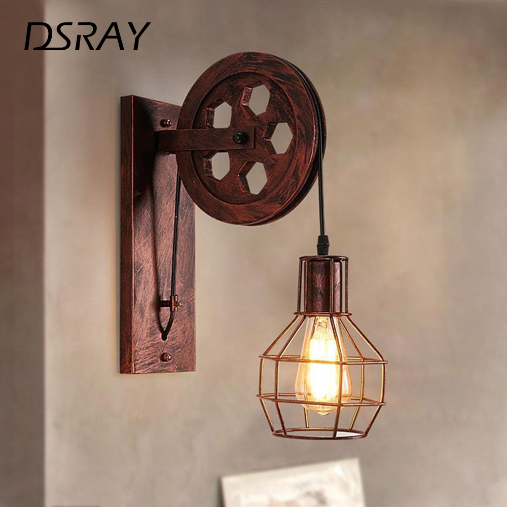 Vintage Home Sconce Light Loft Retro Wall Lamp Lifting Pulley Wall Light Industrial Style Iron Lanterns Suspension Pendant LightWall Lamps   -