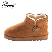 GRWG Classic 100% prawdziwa skóra bydlęca skórzane buty śniegowe prawdziwa wełna buty damskie ciepłe buty zimowe dla kobiet rozmiar 34-44
